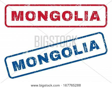 Mongolia text rubber seal stamp watermarks. Vector style is blue and red ink caption inside rounded rectangular shape. Grunge design and scratched texture. Blue and red stickers.