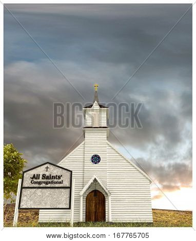 3d illustration of an old wooden church