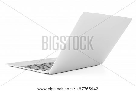 Thin laptop with lid open back view