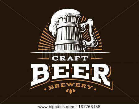 Craft beer logo- vector illustration, emblem brewery design on dark background