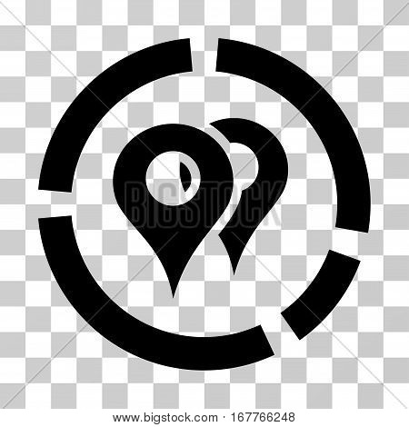 Geo Diagram icon. Vector illustration style is flat iconic symbol, black color, transparent background. Designed for web and software interfaces.