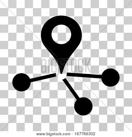 Geo Network icon. Vector illustration style is flat iconic symbol, black color, transparent background. Designed for web and software interfaces.