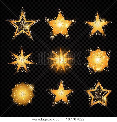 Gold glittering stars set sparkling particles on transparent background. golden sparkles hallow tail. Vector glamour fashion illustration