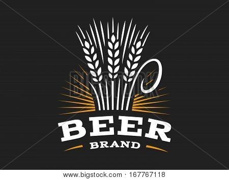 Beer wheat logo - vector illustration, ear emblem design on black background