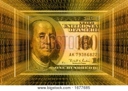 Money Concept, Usa Dollars. Global Information Technology, Binary Code Tunnel.