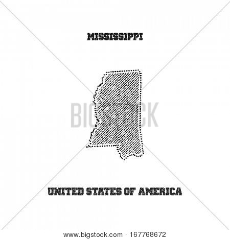Label with map of mississippi. Vector illustration.