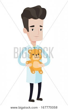 Pediatrician doctor holding a teddy bear. Pediatrician doctor standing with a teddy bear. Young caucasian pediatrician in medical gown. Vector flat design illustration isolated on white background.