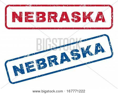 Nebraska text rubber seal stamp watermarks. Vector style is blue and red ink tag inside rounded rectangular banner. Grunge design and unclean texture. Blue and red stickers.