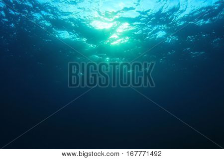 Underwater blue ocean background photo