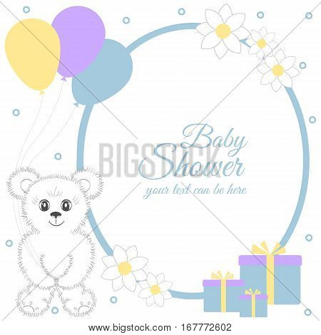 Baby shower boy invitation card. Place for text. Greeting cards. Vector illustration. Cute teddy bear with gift boxes balloons flowers. It can be used as a poster banner template.