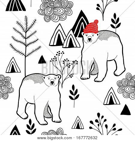 Endless pattern with polar bear in red heat in the mountains. Vector seamless background of nature.
