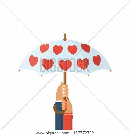 Loving couple under an umbrella. Hands of man and woman holding an umbrella with red hearts. Vector illustration flat design. Isolated on white background.