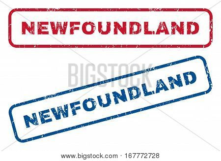 Newfoundland text rubber seal stamp watermarks. Vector style is blue and red ink caption inside rounded rectangular banner. Grunge design and scratched texture. Blue and red signs.
