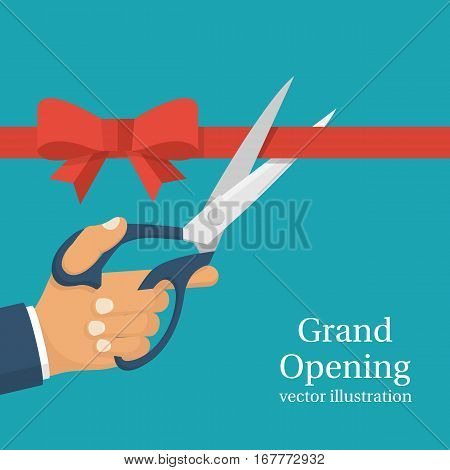 Grand opening concept. Businessman holding pair of scissors in hand cuts red tape with bow. Vector illustration flat design.Isolated on background.Ceremony celebration presentation and event