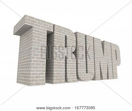 Trump Wall isolated on white background. 3D render
