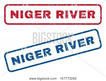 Niger River text rubber seal stamp watermarks. Vector style is blue and red ink tag inside rounded rectangular shape. Grunge design and dust texture. Blue and red emblems.