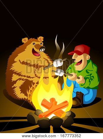 Ranger's Night Out. A quiet evening around the campfire with a bear friend, roasting marshmallows