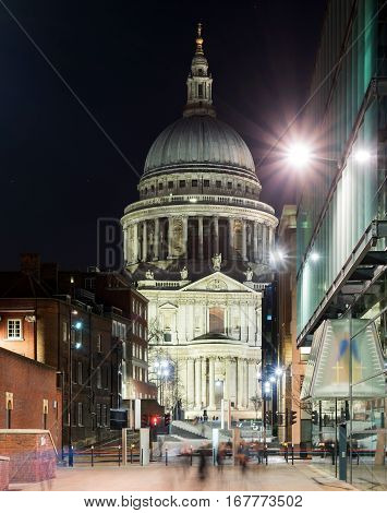 The approach to St Pauls Cathedral in central London a cold winter's night