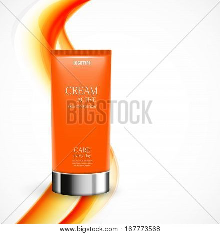 Skin moisturizer cosmetic design template with orange realistic bottle on wavy curved soft light lines background. Vector illustration