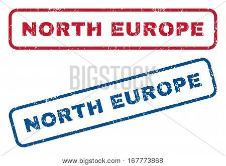North Europe text rubber seal stamp watermarks. Vector style is blue and red ink tag inside rounded rectangular banner. Grunge design and scratched texture. Blue and red emblems.
