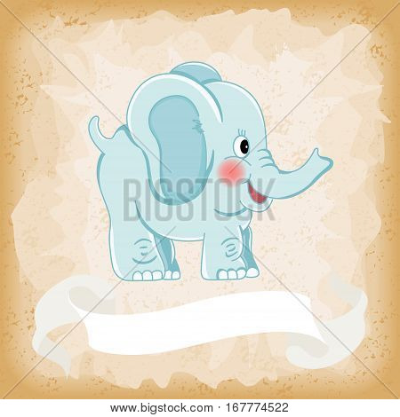 Scalable vectorial image representing a baby elephant blue on old vintage background.