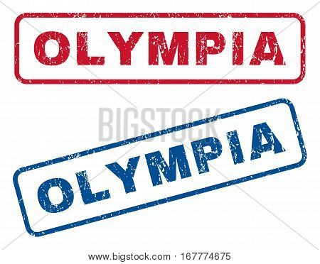 Olympia text rubber seal stamp watermarks. Vector style is blue and red ink caption inside rounded rectangular banner. Grunge design and scratched texture. Blue and red signs.