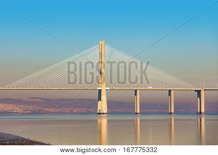 View of modern Vasco da Gama bridge in Lisbon, Portugal.