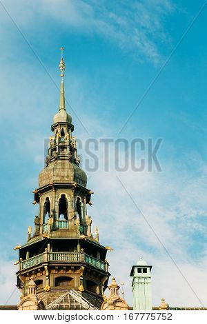 Stockholm, Sweden. The Onion Dome Of Famous Old Building, Nordic Museum, Blue Sky Background. Nordiska Museet At Djurgarden Island Is The Largest Museum Of Cultural And History.