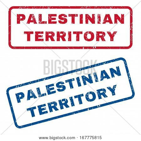 Palestinian Territory text rubber seal stamp watermarks. Vector style is blue and red ink tag inside rounded rectangular banner. Grunge design and scratched texture. Blue and red signs.