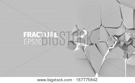 Fracture vector background for banner. Rock explode and destruction illustration