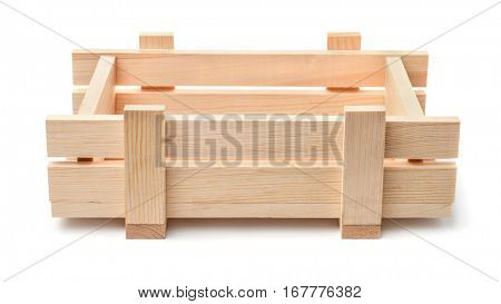 Small decorative wooden crate isolated on white