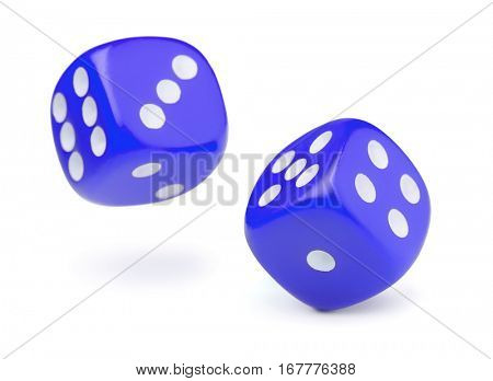 Two blue rolling dices isolated on white