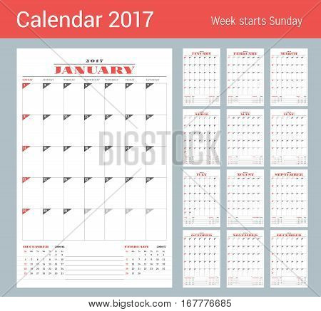 Calendar Template For 2017 Year. Set Of 12 Months. Business Planner Template. Stationery Design. Wee