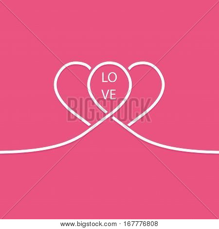 Pair of white line hearts. Valentines card.