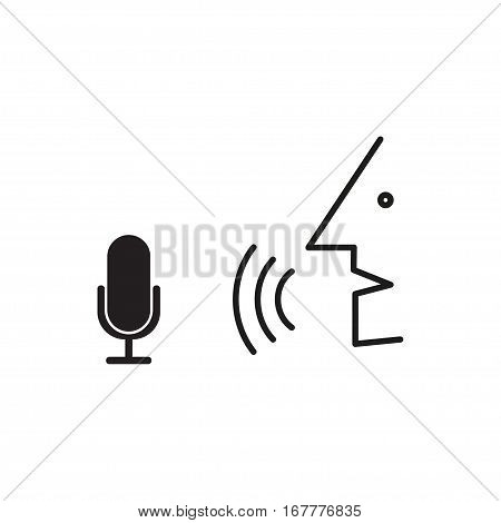 Man speaks with intelligent personal voice assistant app over white background, speech recognition, voice recognizer, voice command, voice control