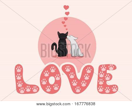 Two cute cats are kissing. Valentines Day card.