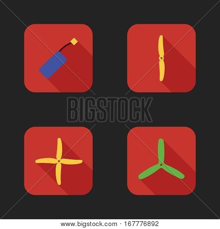 Flat icons set of drones parts. Different types of propellers and battery.