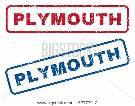Plymouth text rubber seal stamp watermarks. Vector style is blue and red ink caption inside rounded rectangular banner. Grunge design and unclean texture. Blue and red signs.