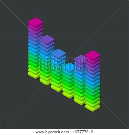 Music sound waves visualization. Isometric vector illustration.