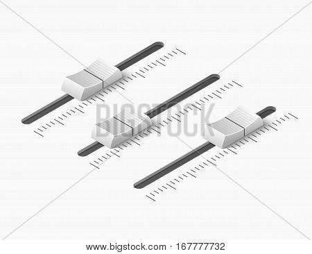 Music mixer equalizer control panel. Dj console. White slider buttons. Isometric vector illustration