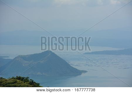 Taal Volcano in the fog, Luzon Island of the Philippines