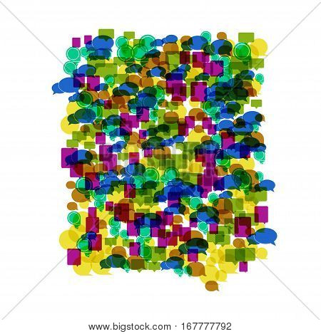Vector modern colorfull bubble speech icons background