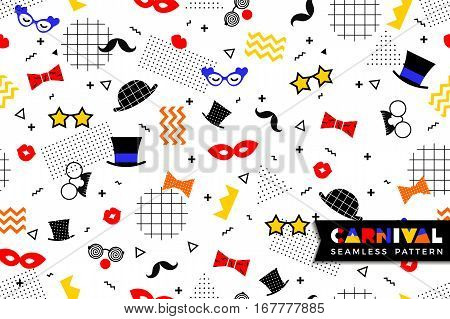 Carnival seamless pattern in Memphis style. Vector background with carnival symbols geometric ornaments in the style of 80-90.