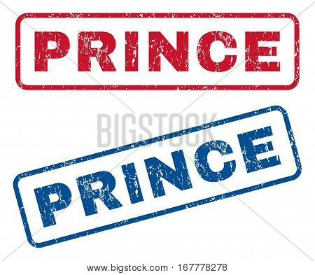 Prince text rubber seal stamp watermarks. Vector style is blue and red ink tag inside rounded rectangular banner. Grunge design and scratched texture. Blue and red signs.