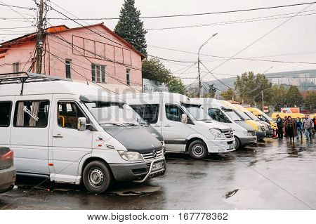 Tbilisi, Georgia - October 24, 2016: Urban taxis Minibuses are on the station Didube in Tbilisi, Georgia.