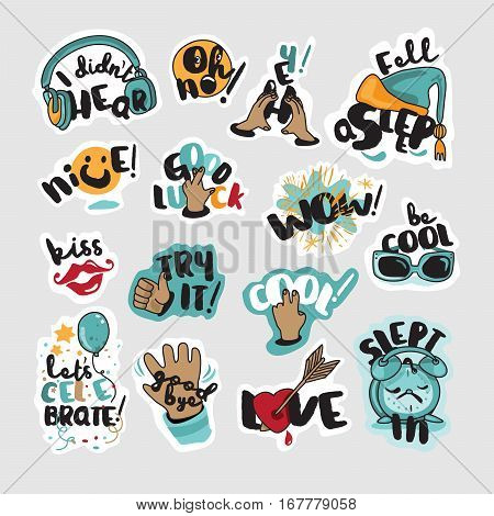 Set of social network stickers. Vector illustrations for everyday communication, website design, mobile messages, social media, online communication, cards and printed material, app.