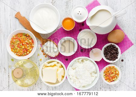 Ingredients for traditional Easter cake kulich (Easter bread paska paskha) top view recipe step by step