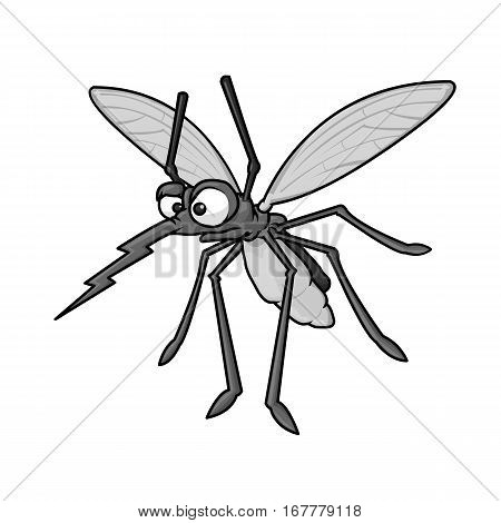 Angry mosquito cartoon. Wild mosquito on white background illustration
