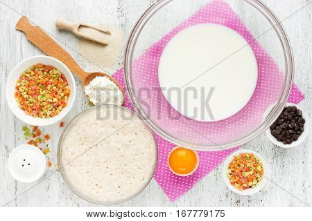 Preparing traditional Easter cake kulich (Easter bread paska paskha) recipe step by step