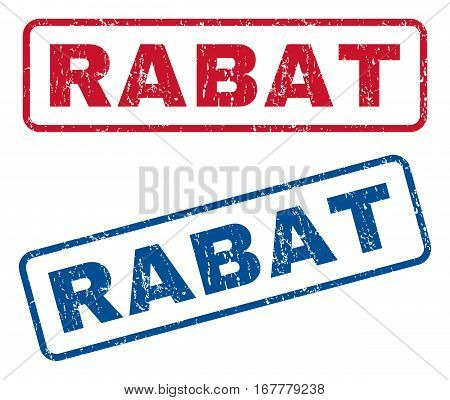 Rabat text rubber seal stamp watermarks. Vector style is blue and red ink tag inside rounded rectangular banner. Grunge design and unclean texture. Blue and red emblems.